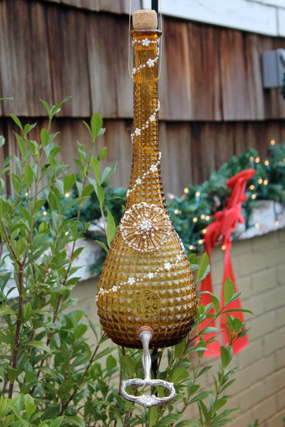 17 Best Images About Glass Bird Feeders On Pinterest Glass Garden Art Teal Blue And Glasses