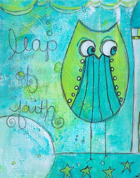 Leap of Faith by Jodi Ohl.Artists Jodie, Journals Inspiration, Apartments Ideas, Jodie Ohl, Art Journals, Mixed Media, Leap Of Faith, Owls Obsession, Whimsical Owls