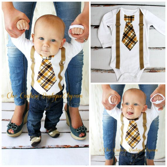 Baby Boy Neckie Onesie and Suspenders. Sweet Birthday Outfit, Cake Smash Falll Winter Wedding.Ring Bearer Suspendres Fall Thanksgiving Plaid