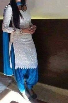 Love this sequin white shirt with blue salwar so pretty punjabi suit