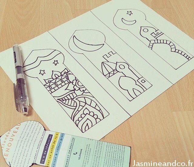 Free printable moroccan bookmark : http://blog.jasmineandco.fr/marque-page-activite-ramadan/ #Ramadan #Eid #kids #craft Modèle de marque page Ramadan à télécharger et imprimer ici : http://blog.jasmineandco.fr/marque-page-activite-ramadan/