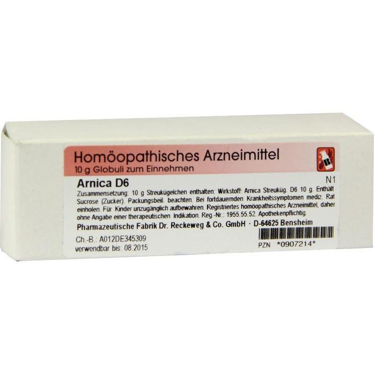 ARNICA D6 Globuli: Homöopathie, Globuli D6  Packungsinhalt: 10 g Globuli PZN: 00907214 Hersteller: Dr.RECKEWEG & Co. GmbH Preis: 3,79 EUR…