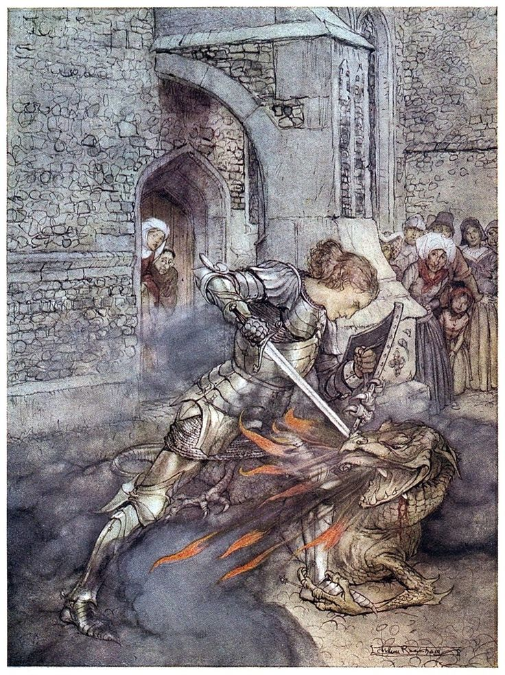 How Sir Lancelot fought with a fiendly dragon.    Arthur Rackham, from The romance of King Arthur, abridged from Mallory's Morte d'Arthur by Alfred W. Pollard, New York, 1920.