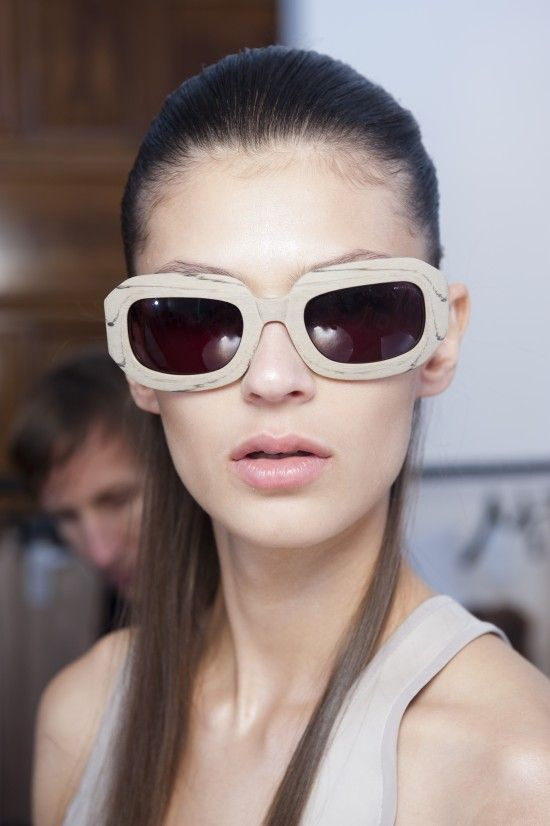 Nicole Farhi SS13 - wood-effect acetate model inspired by the marble quarries of Carrara in Italy