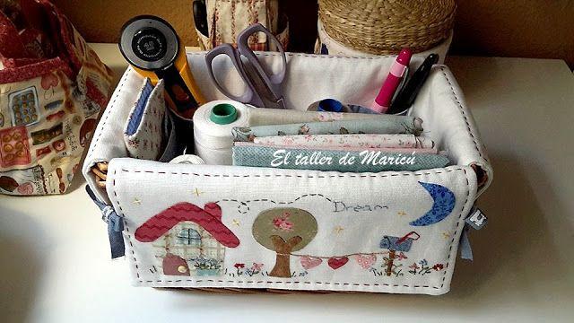 El taller de Maricú: Cesta-costurero de mimbre.