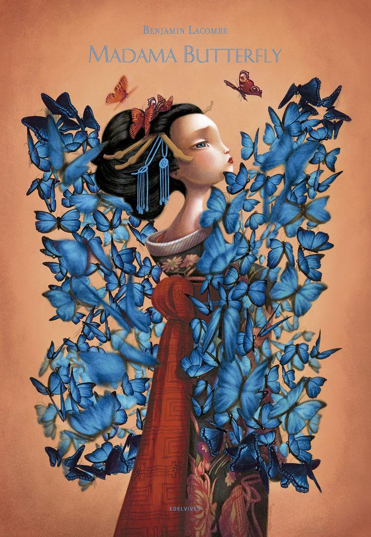 En Madama Butterfly Benjamin Lacombe reinterpreta el famoso drama romántico, presentando a un Pinkerton atormentado por los remordimientos. Este álbum ilustrado, encuadernado en forma de biombo, esconde en el reverso de sus páginas un delicado fresco, ejecutado a lápiz y óleo, de 10 metros de largo. Edelvives presenta Madama butterfly entre sus novedades de otoño 2014.