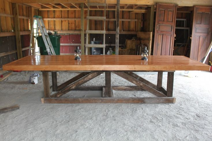 Furniture, Long And Large Easy DIY Trestle Farmhouse Dining Table With Solid Wooden Top And Reclaimed Wooden Base For Rustic Dining Room Design Ideas ~ DIY Farmhouse Table