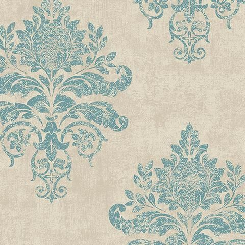 Blue Damask Medallion Wallpaper