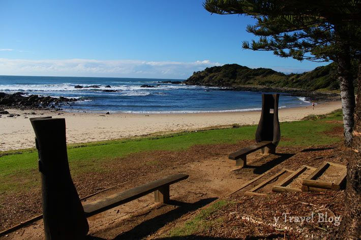 Shelly Beach, PMQ, NSW  I was married on this beach :)  I walked down the aisle between these two benches...