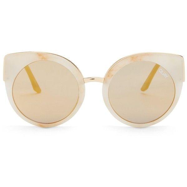 QUAY AUSTRALIA Women's Last Dance Mirrored Sunglasses ($25) ❤ liked on Polyvore featuring accessories, eyewear, sunglasses, white marble sunglasses, uv protection sunglasses, quay sunglasses, white cateye sunglasses and mirror sunglasses
