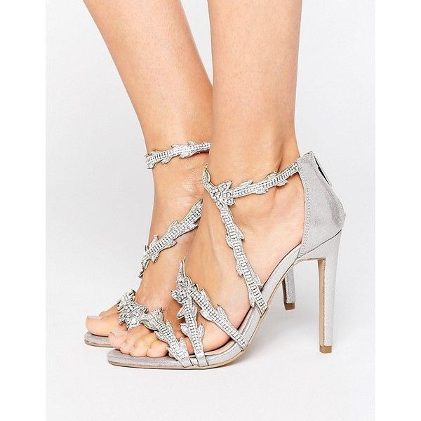Carvela Goa Silver Embellished Heeled Sandals ($206) ❤ liked on Polyvore featuring shoes, sandals, silver, embellished sandals, silver shoes, open toe sandals, strappy high heel sandals and silver high heel shoes