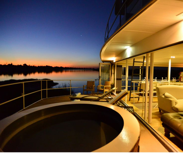 As the sun sets on another perfect day, may we tempt you with a sundowner on the upper deck? #thegoodlife #sunsets #chobeprincess #luxurytravel #africanriversafari #zambeziqueencollection