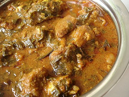 Goat Curry in Sorrel Leaves- A South Indian, particularly Andhra Pradesh specialty. Heaven!!