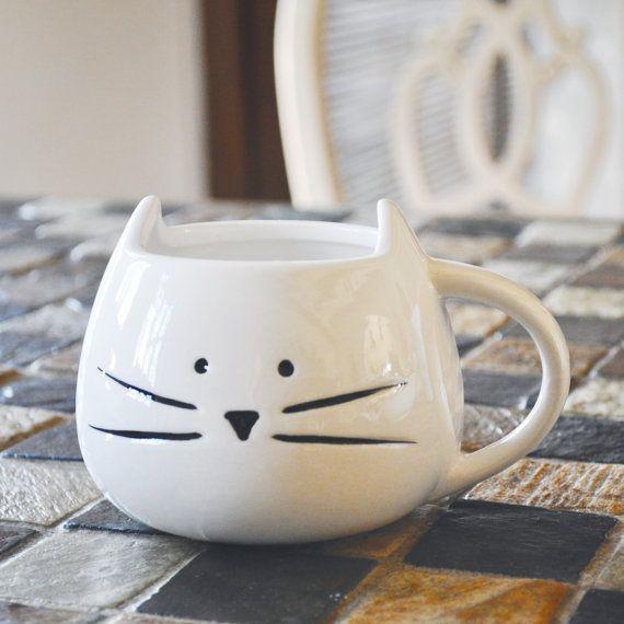 Retour en Stock!! {Quantité limitée} >> 2 Color Options - Mug chat mignon - 12 oz café Mug - Teal chatouillé sur Etsy, $24.96 CAD
