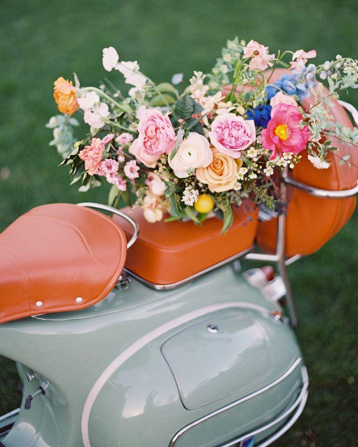 floral basket on a vespa