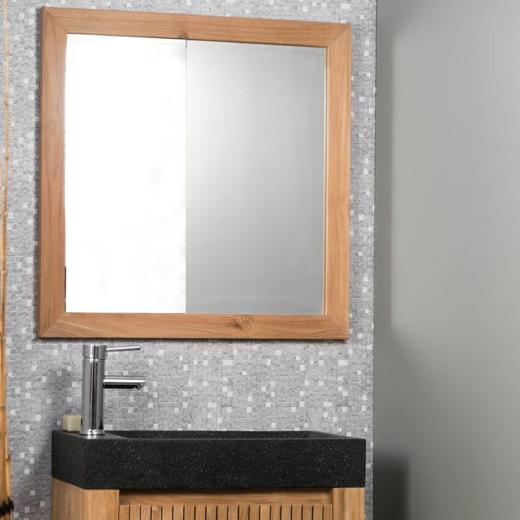 Magnifique miroir en teck massif , aux finitions très soignées, saura donner une touche naturelle et sobre à votre salle de bain.