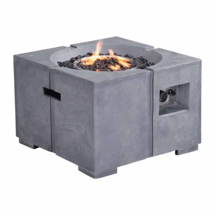 Zuo 100412 Dante Propane Fire Pit In Gray Outdoor Propane Fire