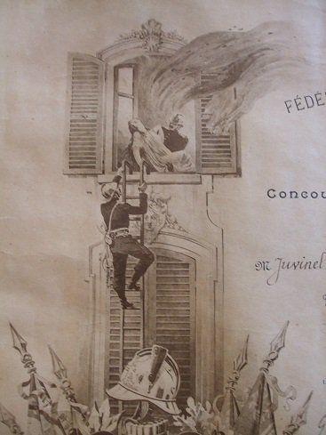 1906 Diplome de la fédération des sapeurs pompiers français , concours de manoeuvres de pompes à incendie ville de Grandfresnoy