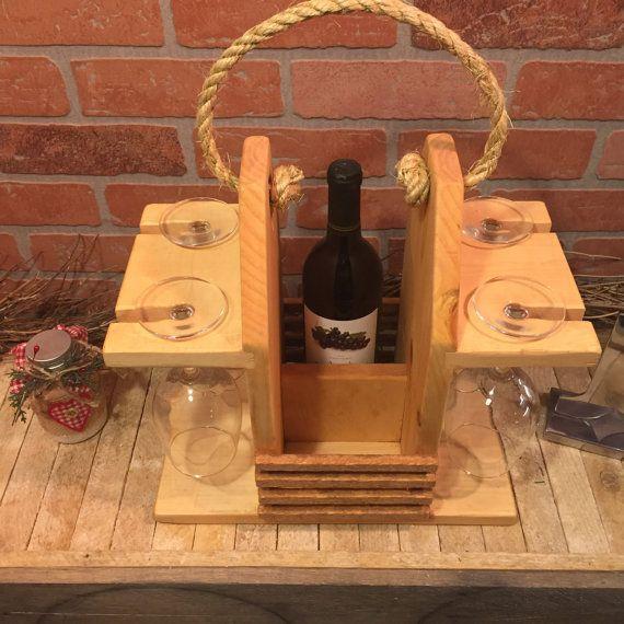 Rustic Wine Caddy Wine Carrier Wine Tote. Two by CraftsbyDerek