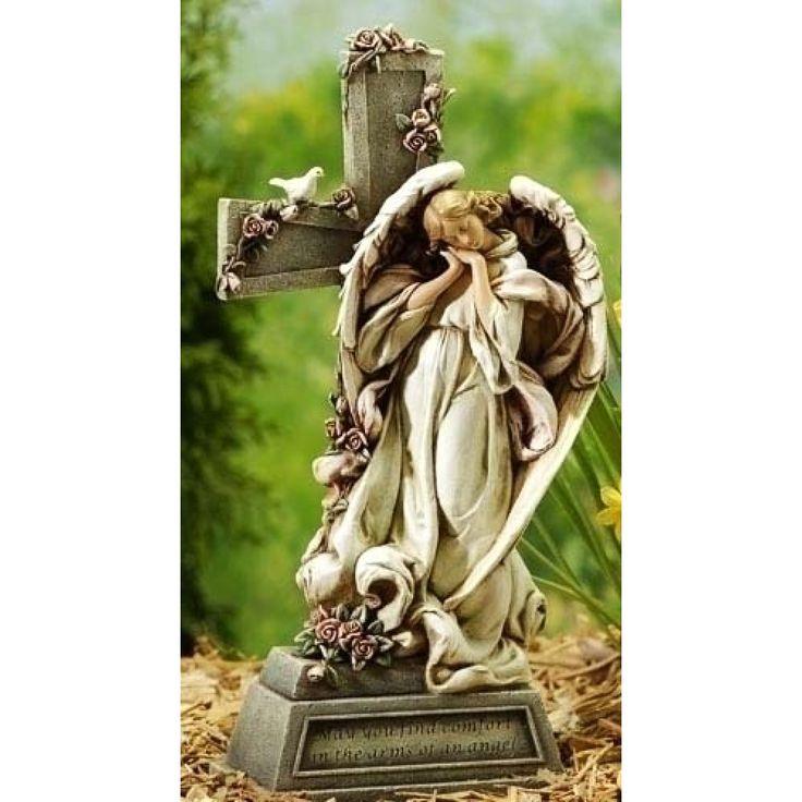Garden Angel with Cross by Joseph's Studio - JOSEPH STUDIOS - Religious Figurines - COLLECTABLES