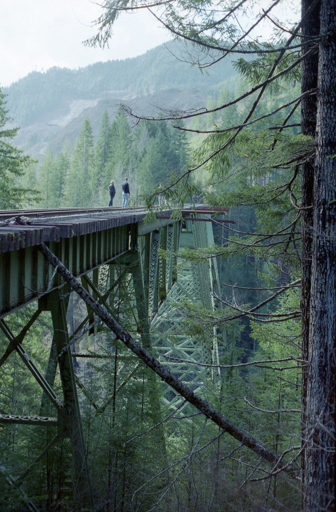 Now abandoned, America's 2nd tallest railway trestle arch is the 350 ft VANCE CREEK BRIDGE. Trespass onto logging industry lands via NFR-23. Shelton Wa is the nearest town 17 miles to the east, at the base of the Olympic Peninsula.