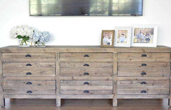 "Living room Media Console. Living room Media Console is from Restoration Hardware. Media Console is Printmaker's 81""wide in Antiqued Pine from Restoration Hardware #Livingroom #MediaConsole #RestorationHardware Beautiful Homes of Instagram @HomeSweetHillcrest"