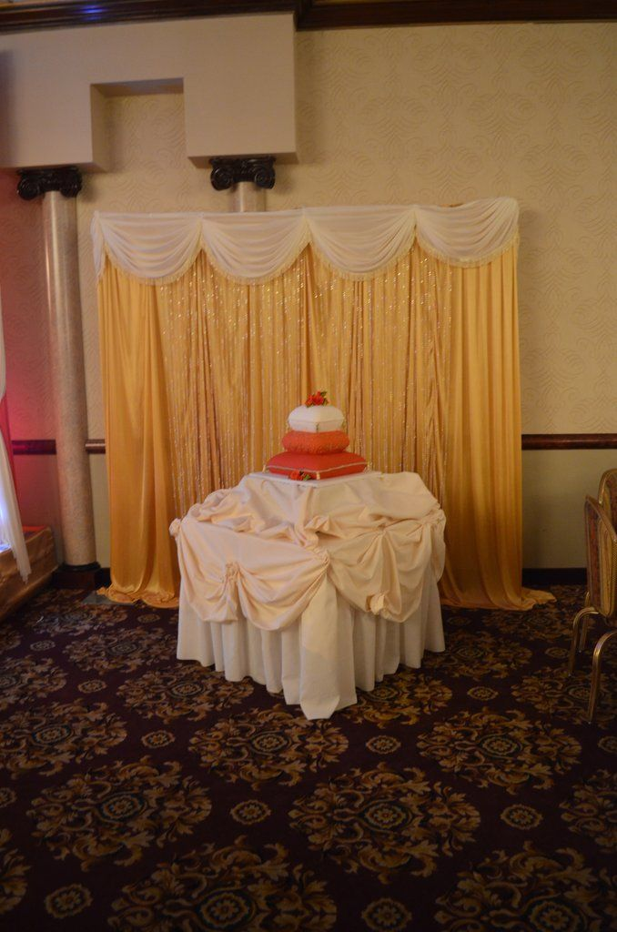 Gold Ivory Cake Table Backdrop Rental Indian Wedding & Event Backdrop Rentals Maryland. Backdrop Draping Rentals For Lady Sangeet, Henna , Ceremony, Reception, Engagement Party, Bridal Shower, Baby Shower, Birthday #backdrop #wedding #decor #decorator #Maryland #rental #lady sangeet #Indian #Pakistani #event #draping #arch #ceremony #galapartiesinc