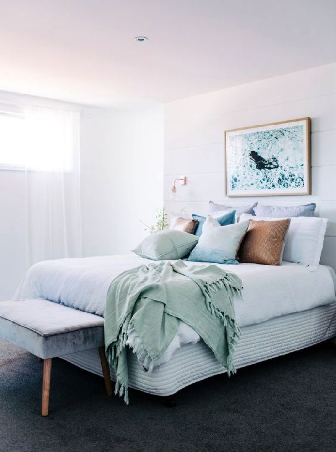 Hard to find words to describe this stunning bedroom styling. Love the palette of ocean tones and that velvet bench is too gorgeous! Another incredible project by Three Birds Reno