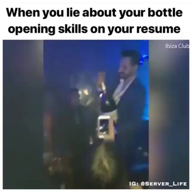 Bottle Service Resume Enchanting Has This Happened To You Repost Server_Life #iserverlife #iserv .
