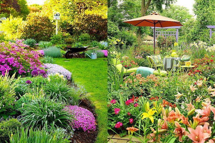 Idei pentru grădini mici cu superbe straturi de flori multicolore