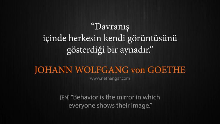 "Q006 ""Davranış içinde herkesin kendi görüntüsünü gösterdiği bir aynadır."" JOHANN WOLFGANG von GOETHE [EN] ""Behavior is the mirror in which everyone shows their image.""  www.nethangar.com"