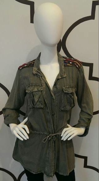 MILITARY JACKET WITH ETHNIC PATCHWORK MILITARY GREEN $78- CALL SPLASH TO ORDER 314-721-6442