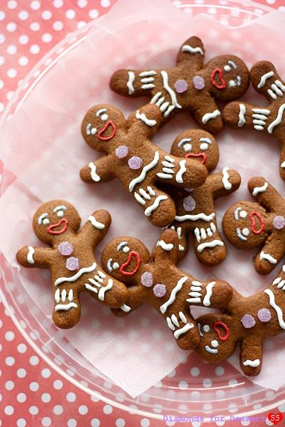 Gingerbread cookies that look like gingy from shrek. Cute!