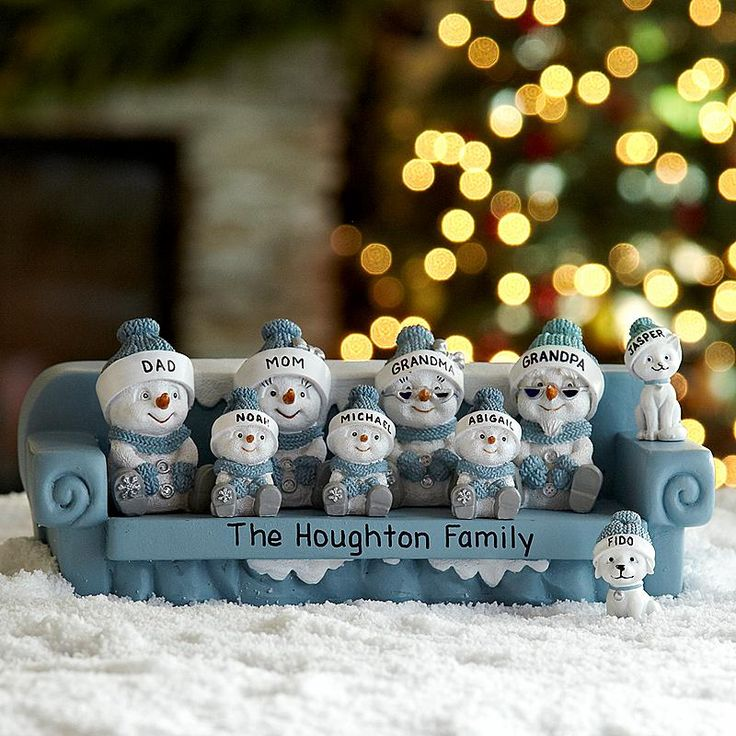 The Original Snow Buddies™ Couch Figurine - A Personal Creations Exclusive! Picture your wonderful family sharing a quiet moment on the couch. Choose individual figurines—mom, dad, grandma, grandpa, child, cat or dog.