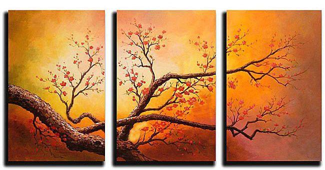 Cuadros flores abstractos tripticos dipticos modernos for Cuadros horizontales modernos