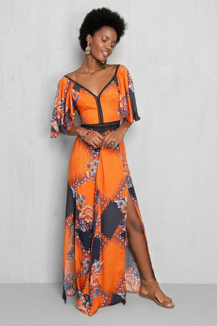 vestido longo estampado batik | Dress to
