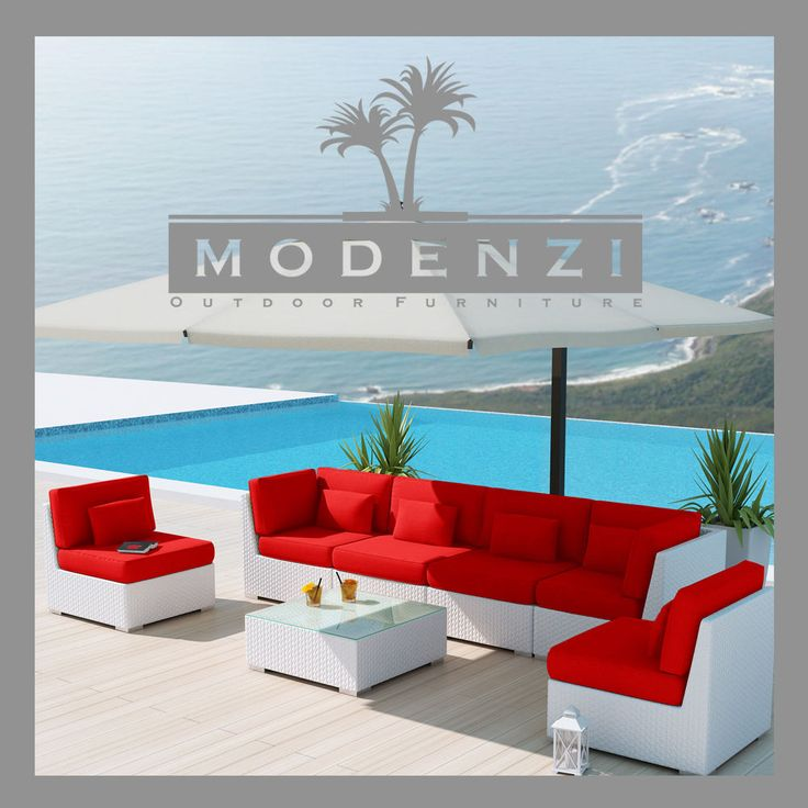 MODENZI DELUXE 7G WHITE Modern Outdoor PE Wicker Sofa Patio Furniture Set #MODENZI