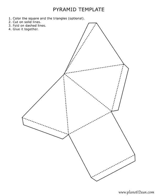 printable 3d pyramid template  color it  cut it out  fold
