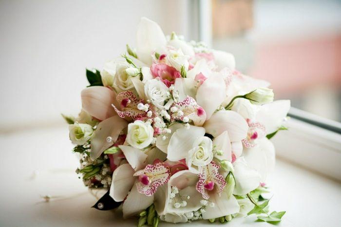 brautstrauß orchideen weiße rosen hochzeitsdeko
