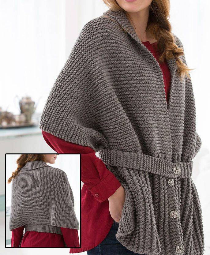 """Free Knitting Pattern for Easy Sweater Scarf - This easy cardigan wrap was inspired by a """"sweater-scarf"""" from 1917, in the early years that women worked with the Red Cross. It is made from a knit rectangle and belt. Designed by Julie Farmer for Red Heart tba one piece fold shorter sleeve forme"""