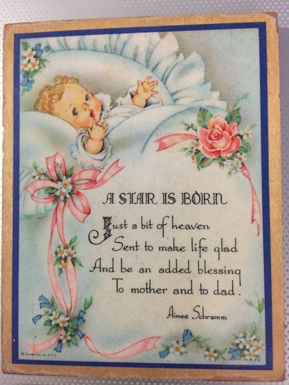 """Baby Kinderzimmer Plaque 3 3/4 """"x 4 3/4"""" Wanddekoration laminiert Stil Plaque Gedicht Aimee Schramm Baby Bild STAR IS BORN aus Holz zurück"""
