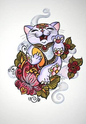 Dawnii Fantana , Lucky Cat Tattoo                              …