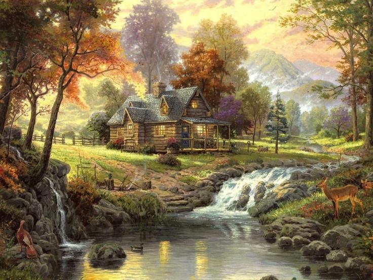 Mountain Retreat by Thomas Kincaide