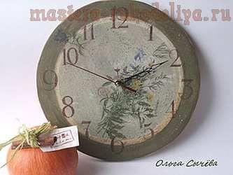 Мастер-класс по декупажу на дереве: Часы в стиле кантри