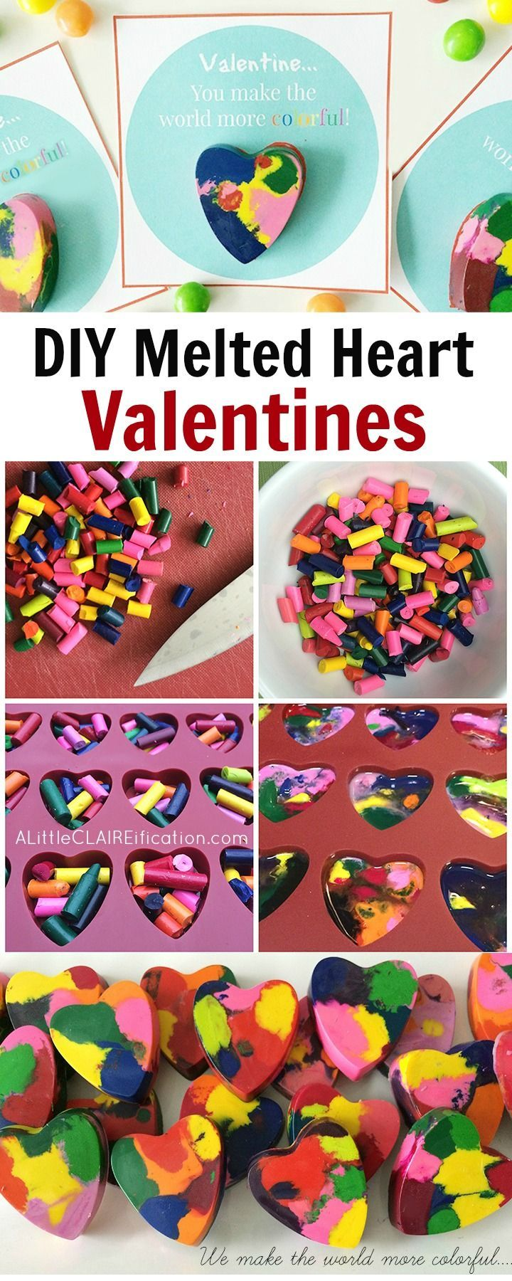 DIY Melted Crayon Kids Valentines - so easy to make and hands on for the kids!