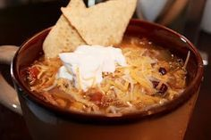 Chicken Tortilla Soup.  I don't love most soups, but this was delicious.  Super easy, crock pot and cheap.  Plus the hubby loved and the kids.  Winner. - Click image to find more Food & Drink Pinterest pins