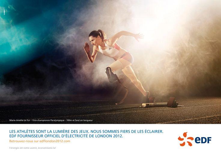 EDF, Olympic Games 2012  Marie-Amélie Le Fur, Vice-championne Paralympique, 100 m et saut en longueur.  Agency : CLM-BBDO  Photo : Carlos SERRAO.   Post production : JANVIER