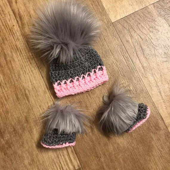 Baby Girl Hat Booties Boots Socks Faux Fur Newborn Baby girl