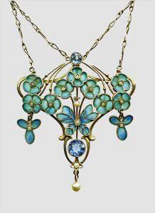 Art Nouveau gold and enamel Forget Me Nots pendant