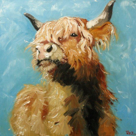 Cute painting: Highland Cow, Print Cow192, Oil Paintings, Cow192 10X10, Oils, Art, Cow Paintings, Animal